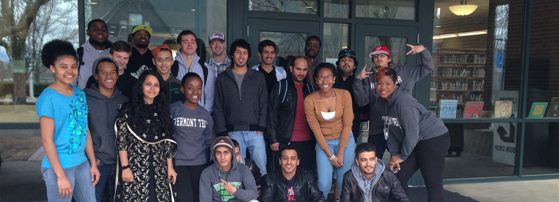 Students from Vermont Tech's Multicultural Club pose for a group photo