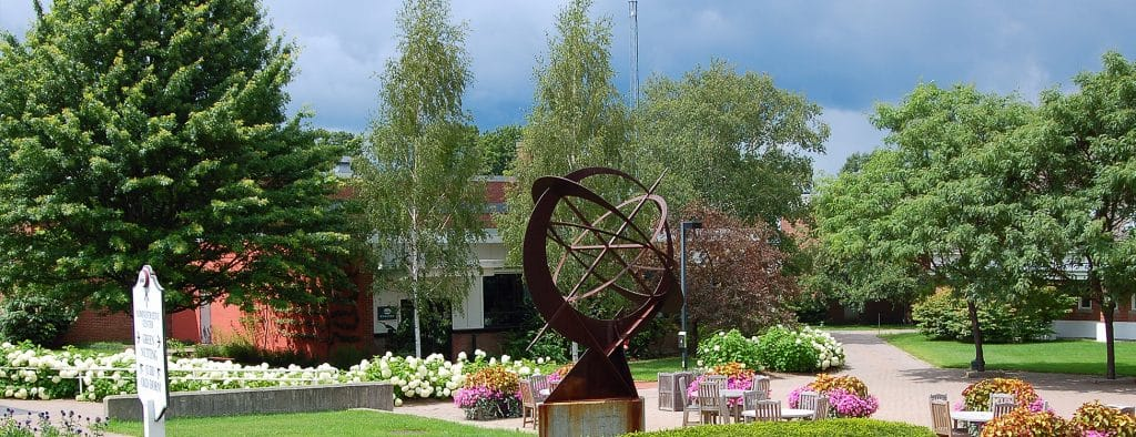 Sculpture on the plaza at the Randolph Center campus