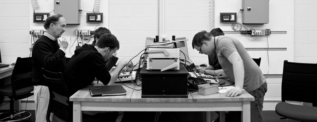 Students work in the electrical engineering lab on the Randolph Center campus