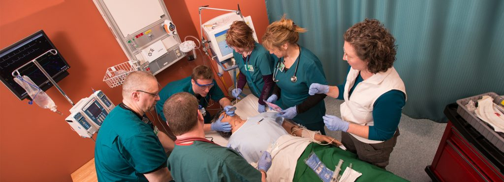Group of students working in our simulation lab on the Williston campus, respiratory therapy