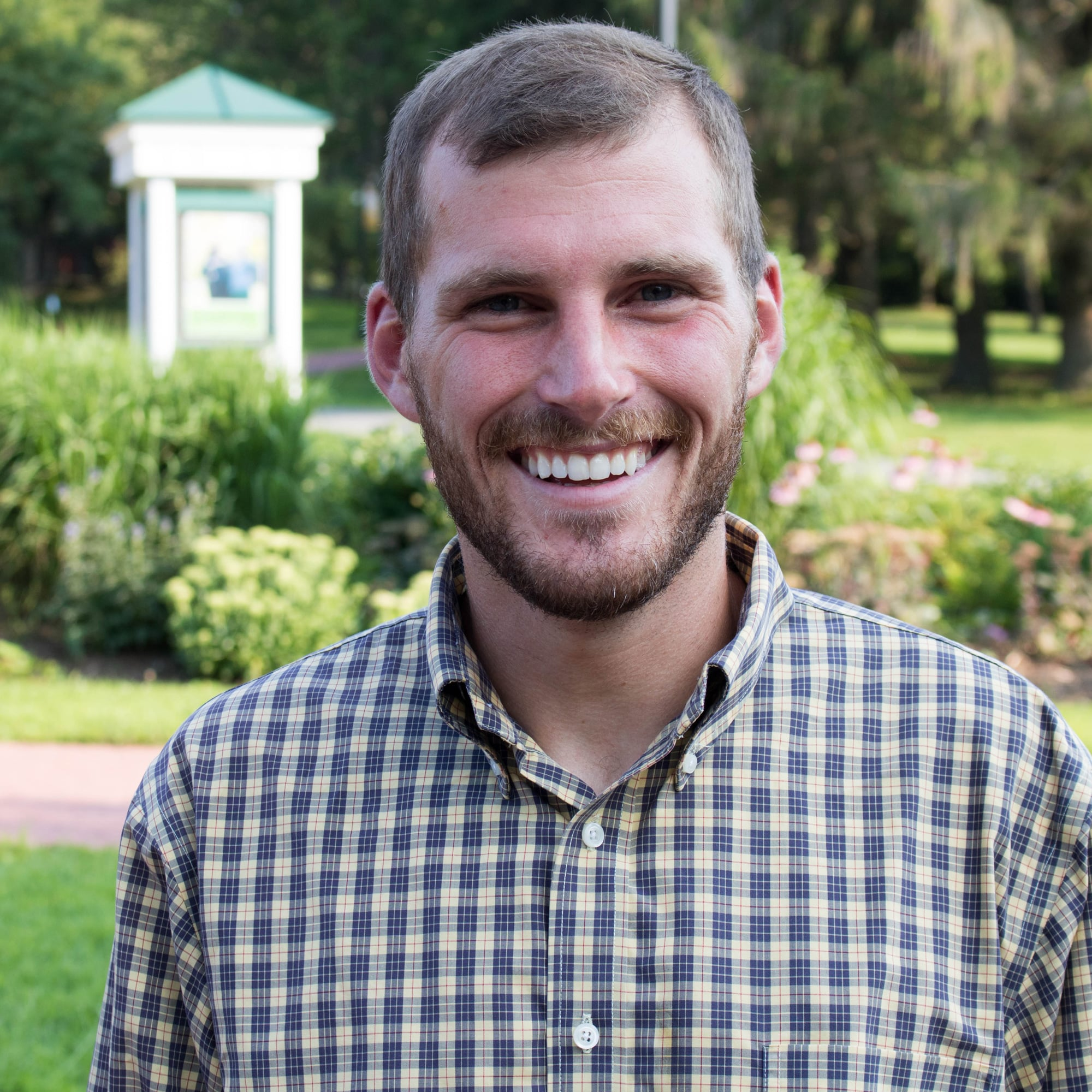 David Mattern, student, smiles for a photo on the Randolph Center campus
