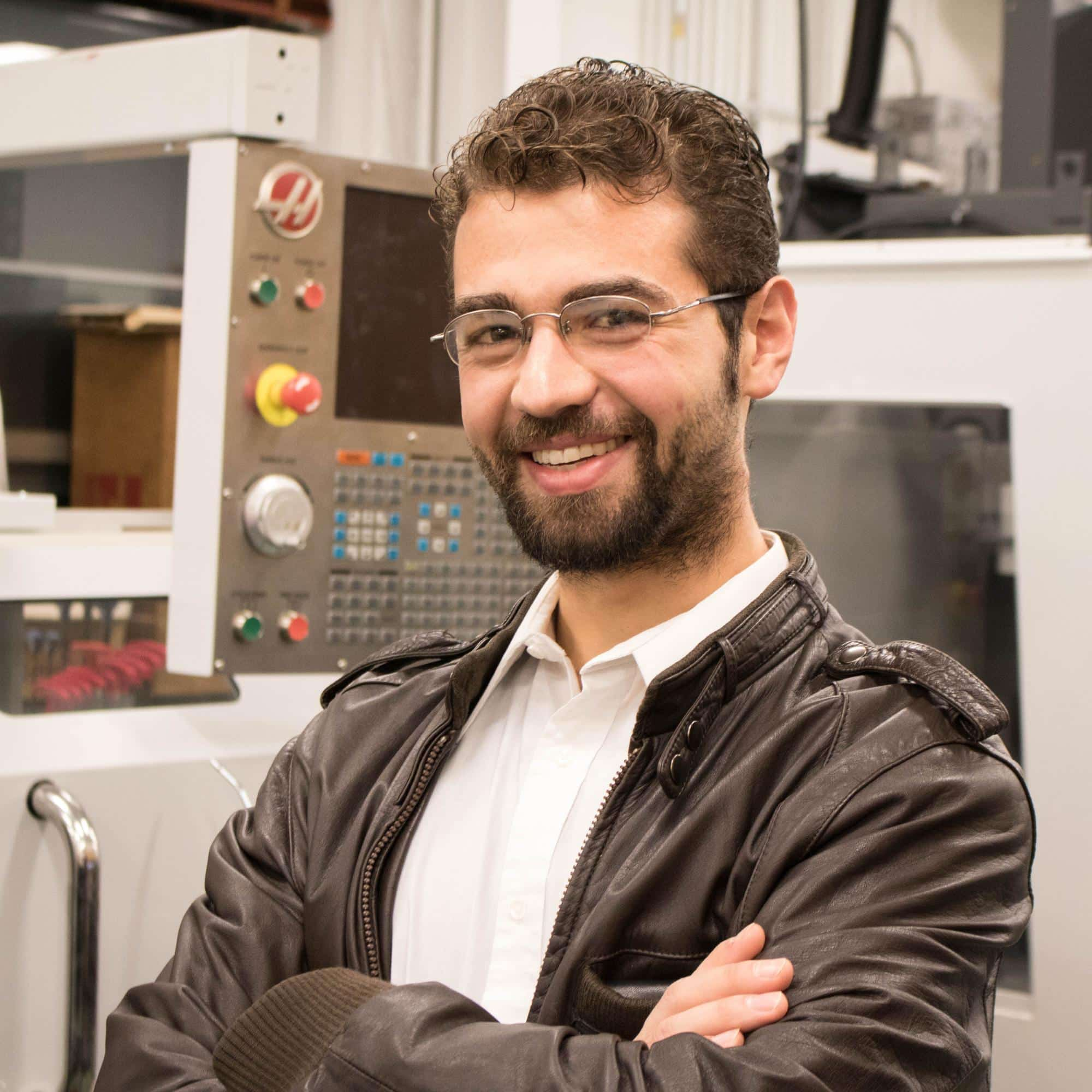 Will Jeffries in the Mechanical Lab, Randolph center campus