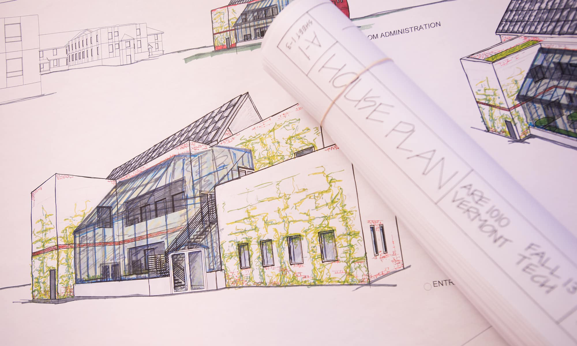 An architectural blueprint, architectural engineering, CADD