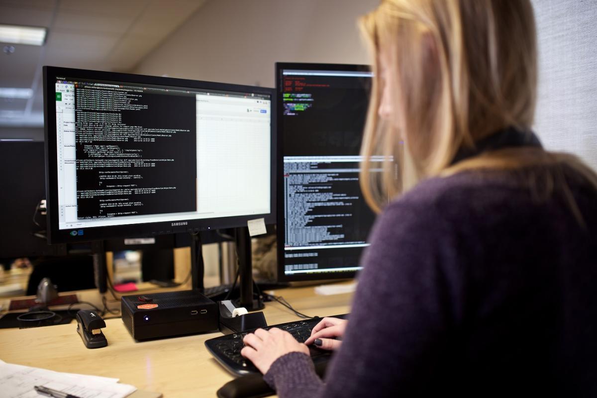Allison Miller, coding on computer, STEM