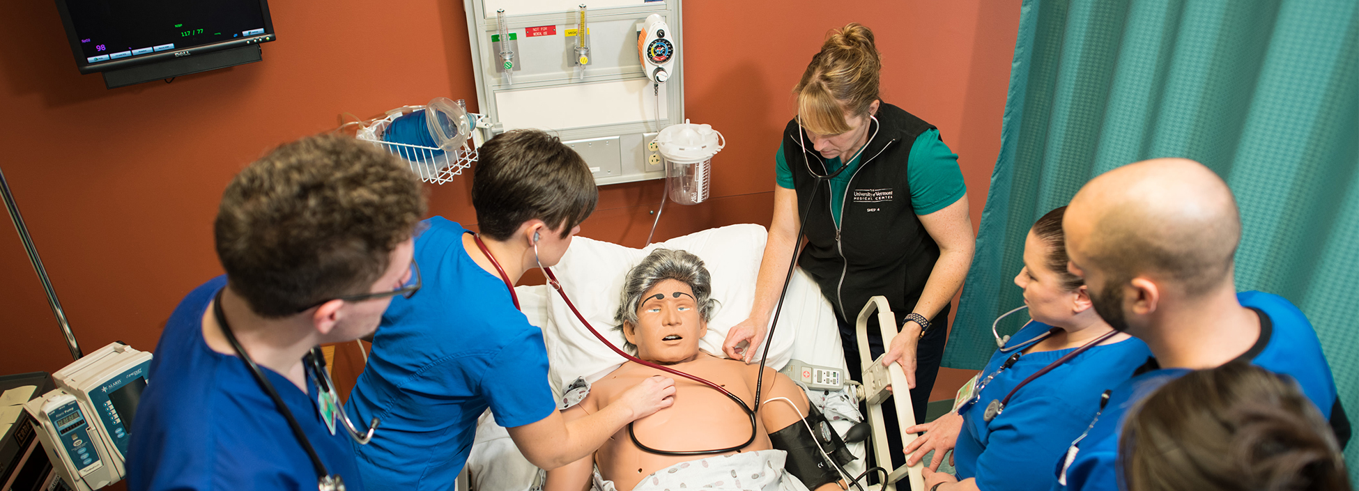 Vermont Tech students practice their skills on the simulation man, nursing, hands on, healthcare