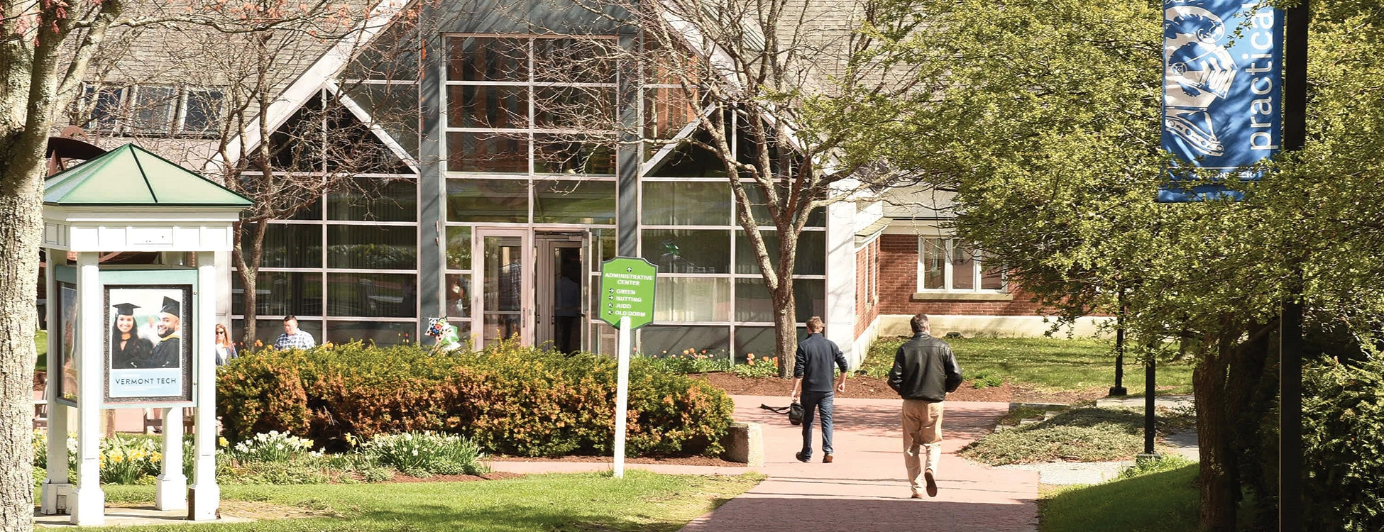 Randolph center campus, spring, students walking, administration building