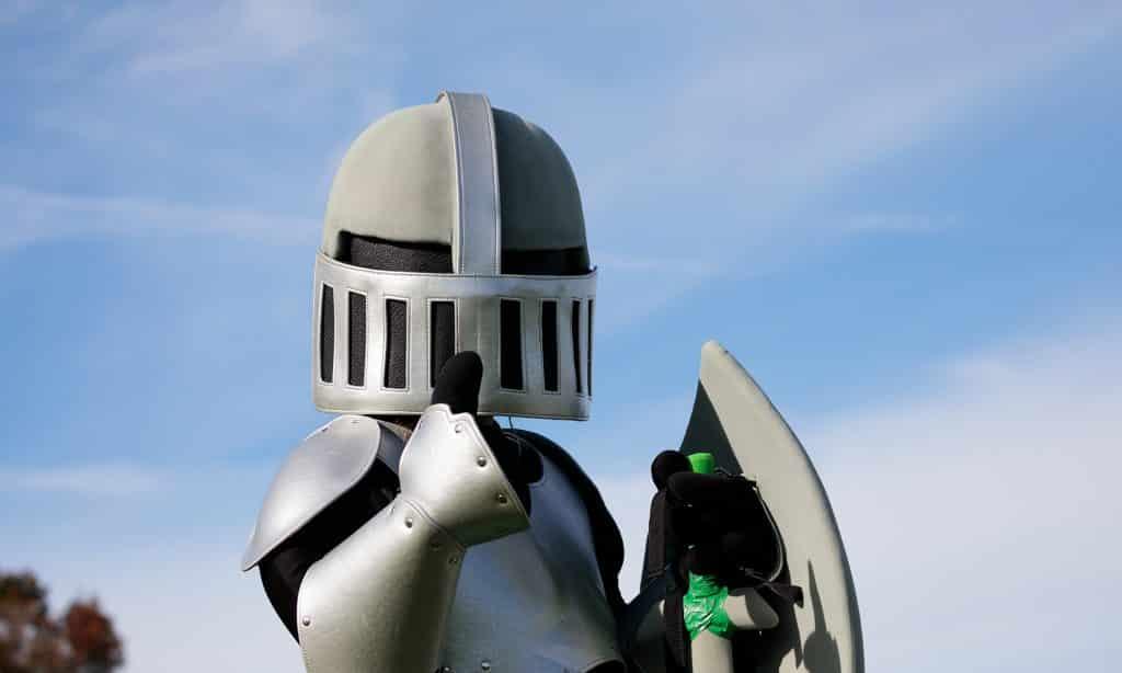 Knight mascot gives a thumbs up