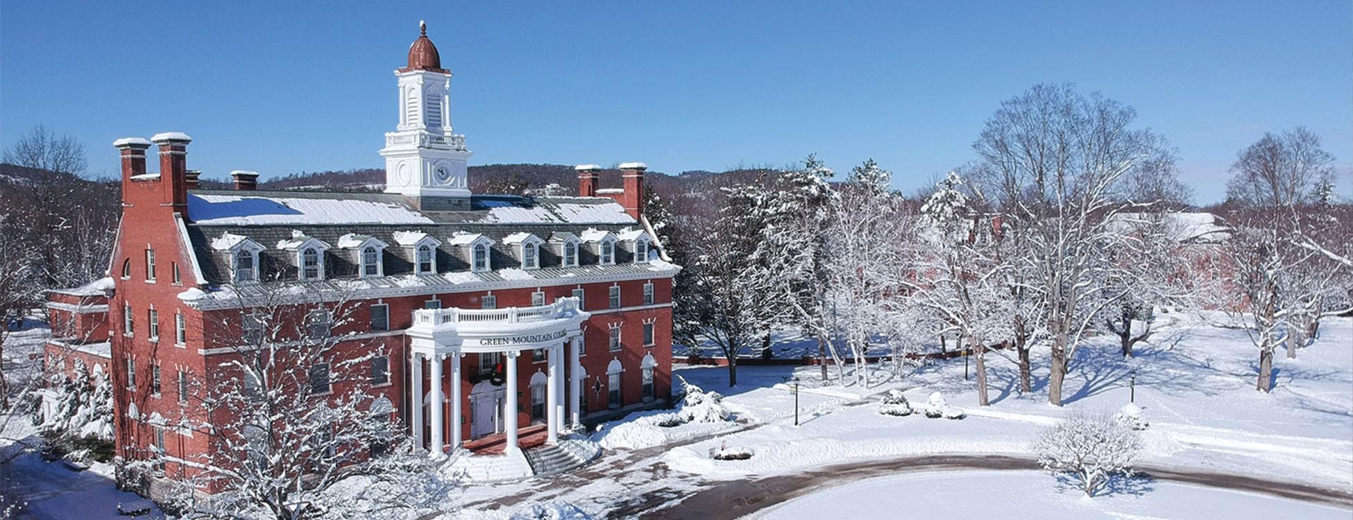 Green Mountain College, snow, winter