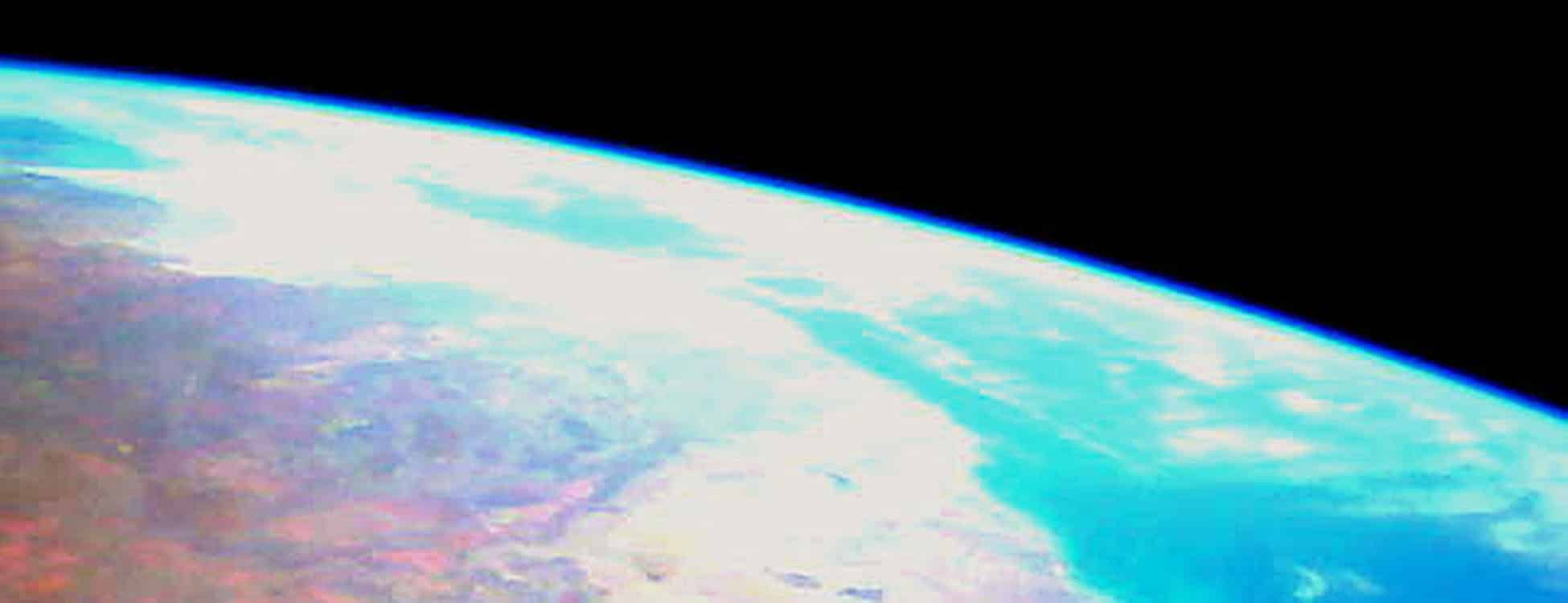 photo of earth from space, cubesat