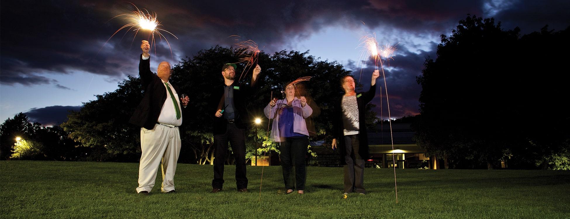 alumni, homecoming, sparklers, night, fun