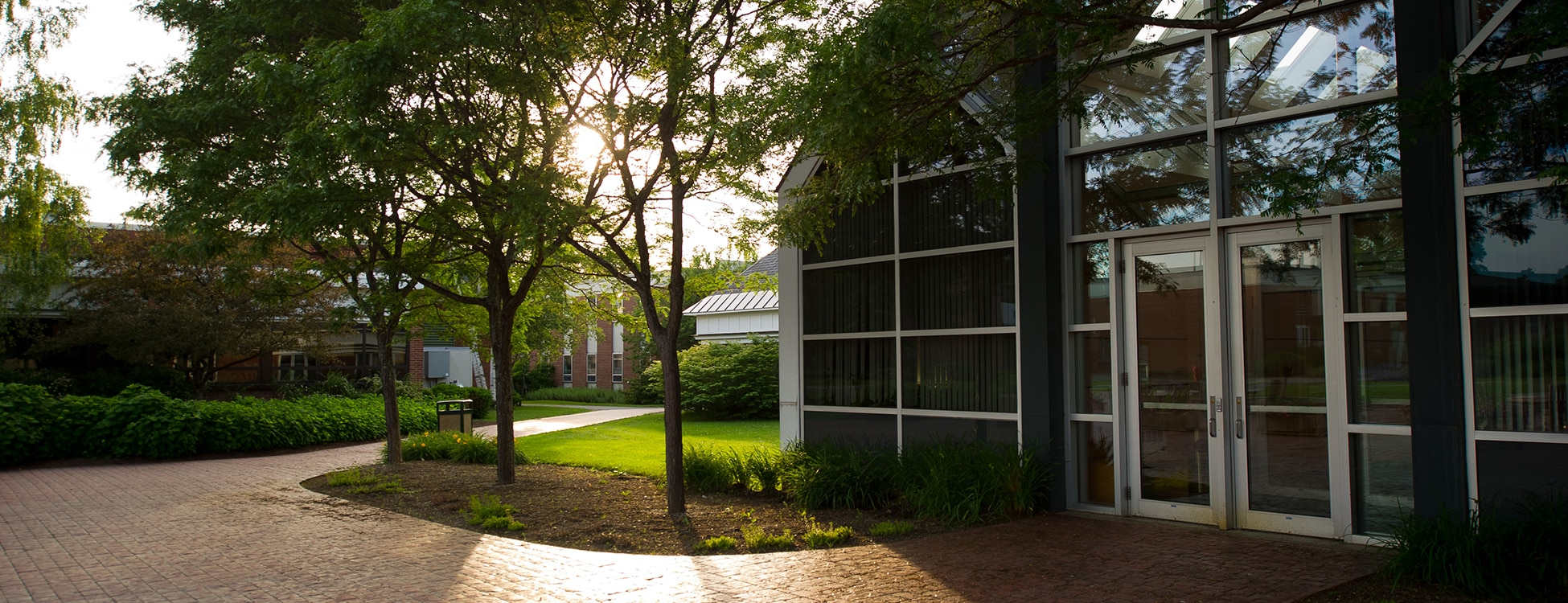 Administration building, Randolph Center campus, plaza, patio, sunset