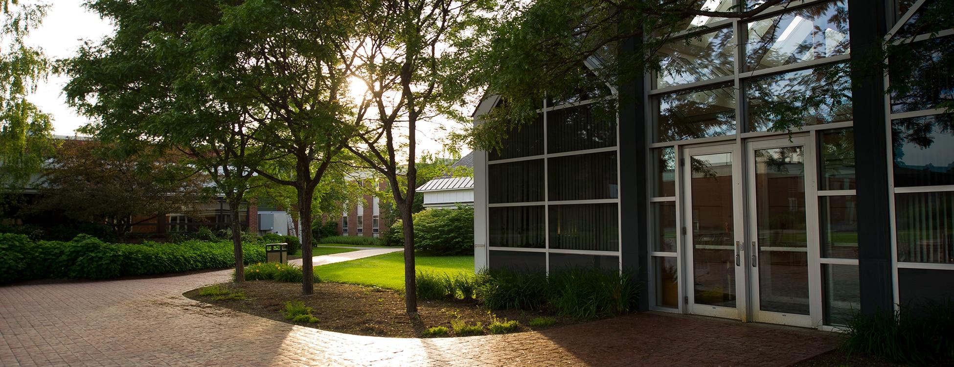 Administration building, Randolph Center campus, plaza, patio, sunset