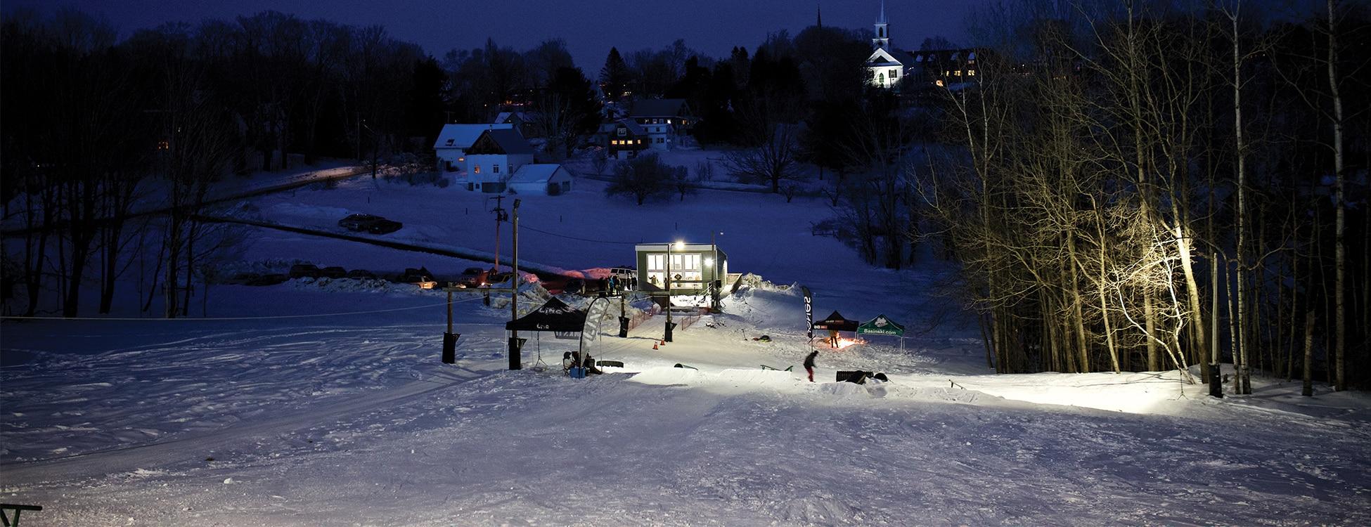 Winter, snow, ski hill, rope tow, Randolph Center campus, night, lights