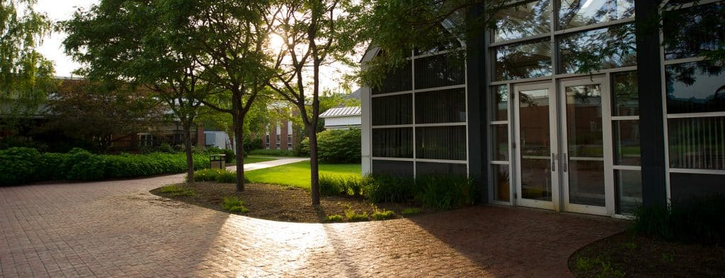 Randolph Center campus, Administration building, sunset, plaza, patio
