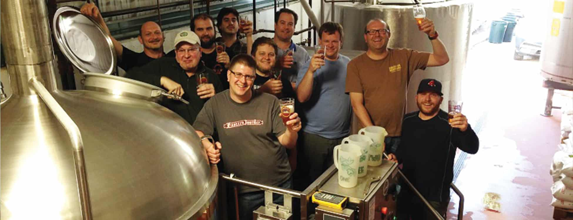 beer making class, students smile