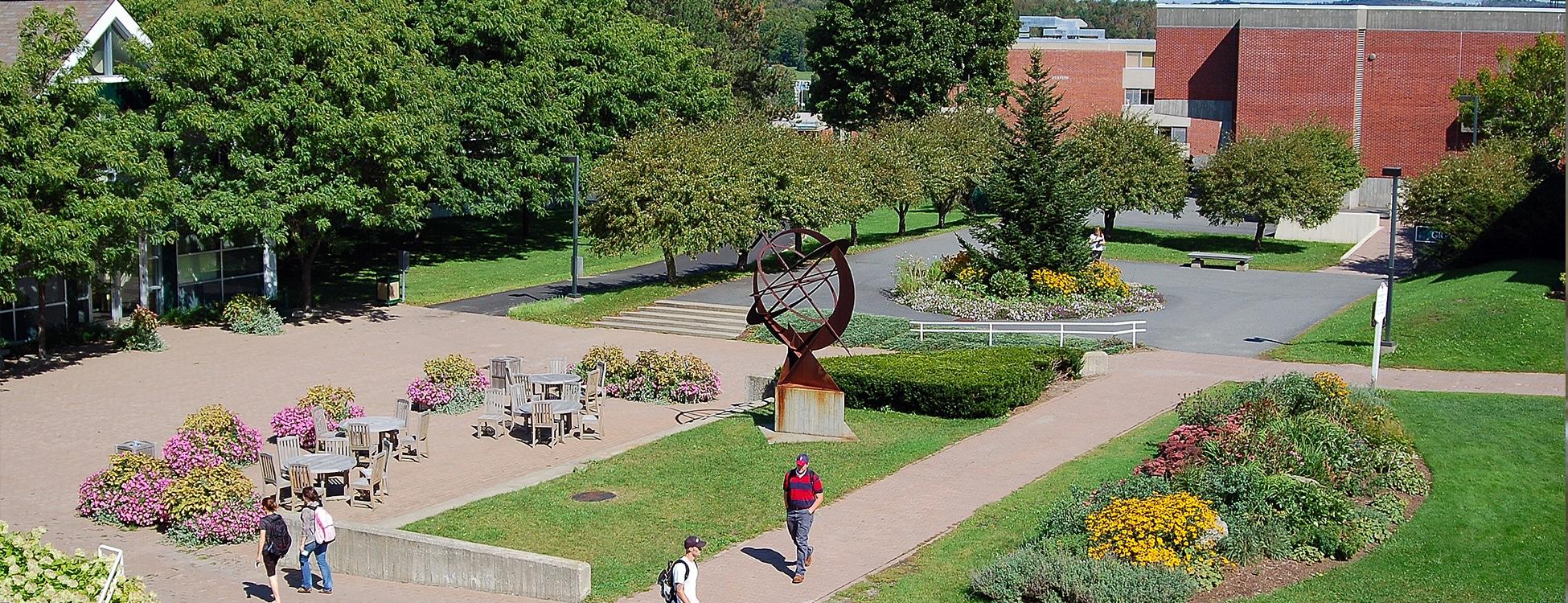 Randolph Center campus, beautiful, students walking, pathways, sculpture