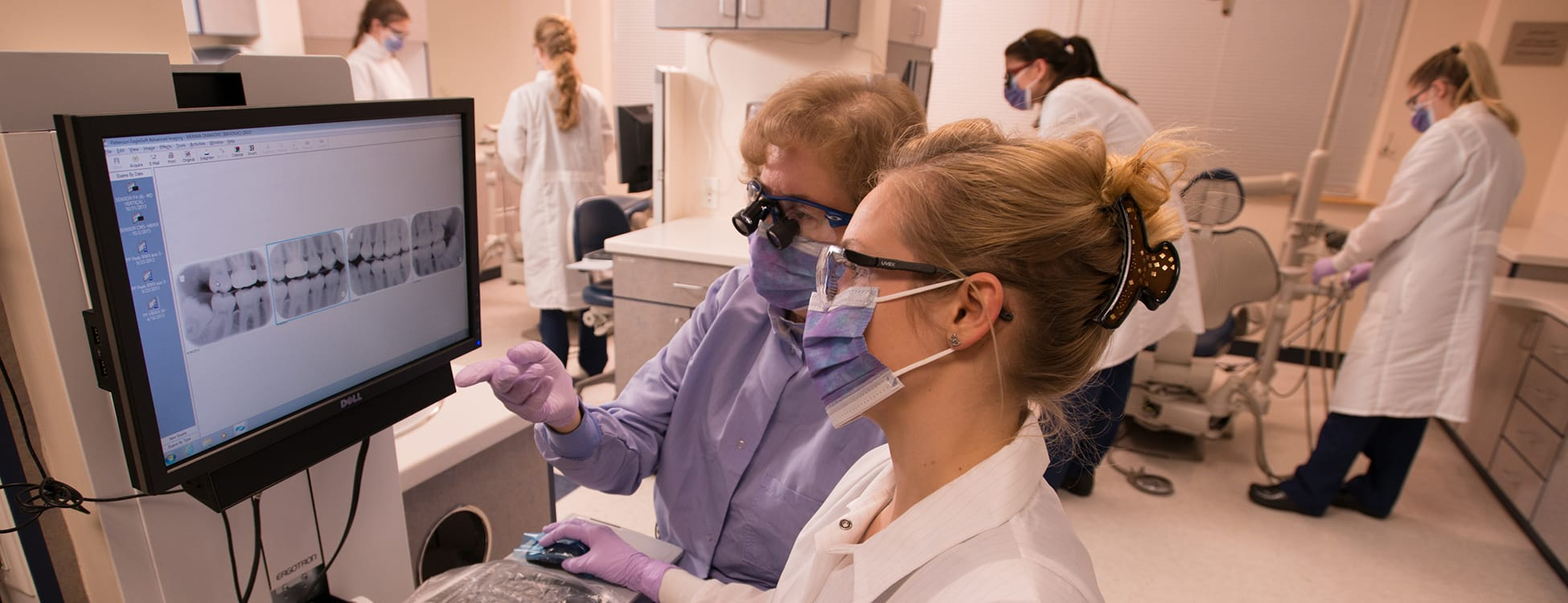 dental hygiene, female students, xrays, hands on, laboratory