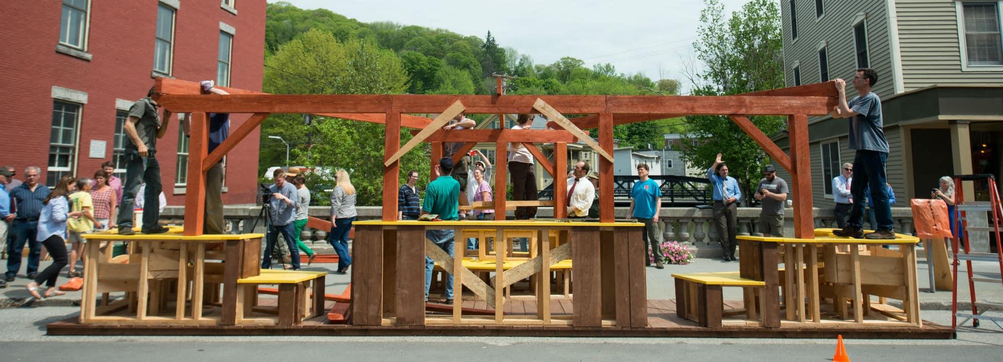 Building parklet in Montpelier, teamwork