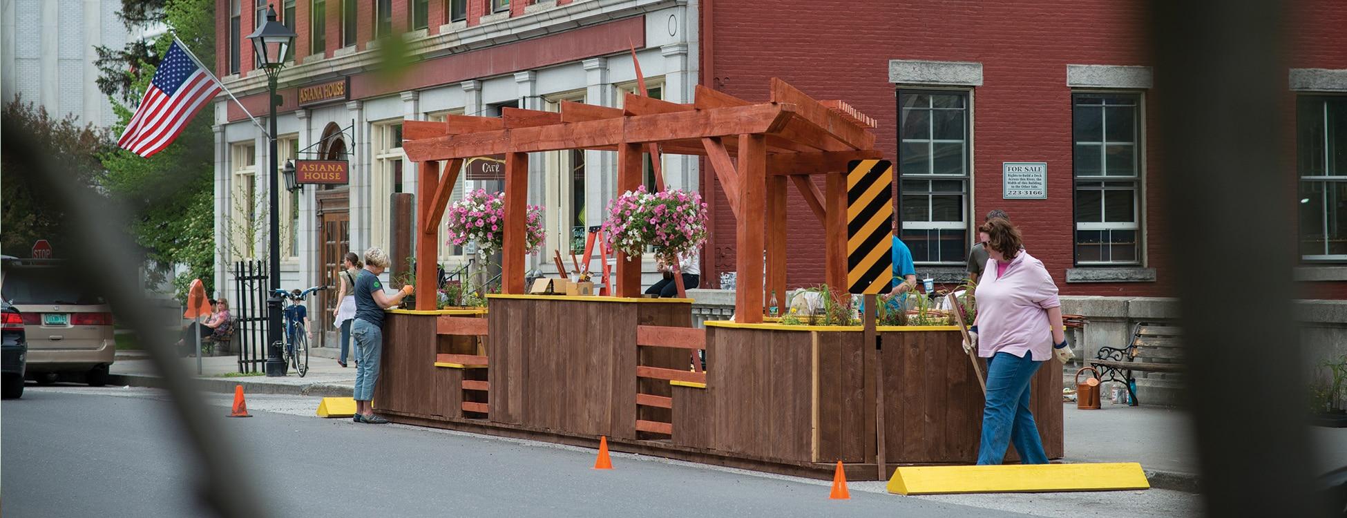 Installing parklet, Montpelier, Vermont, teamwork, construction