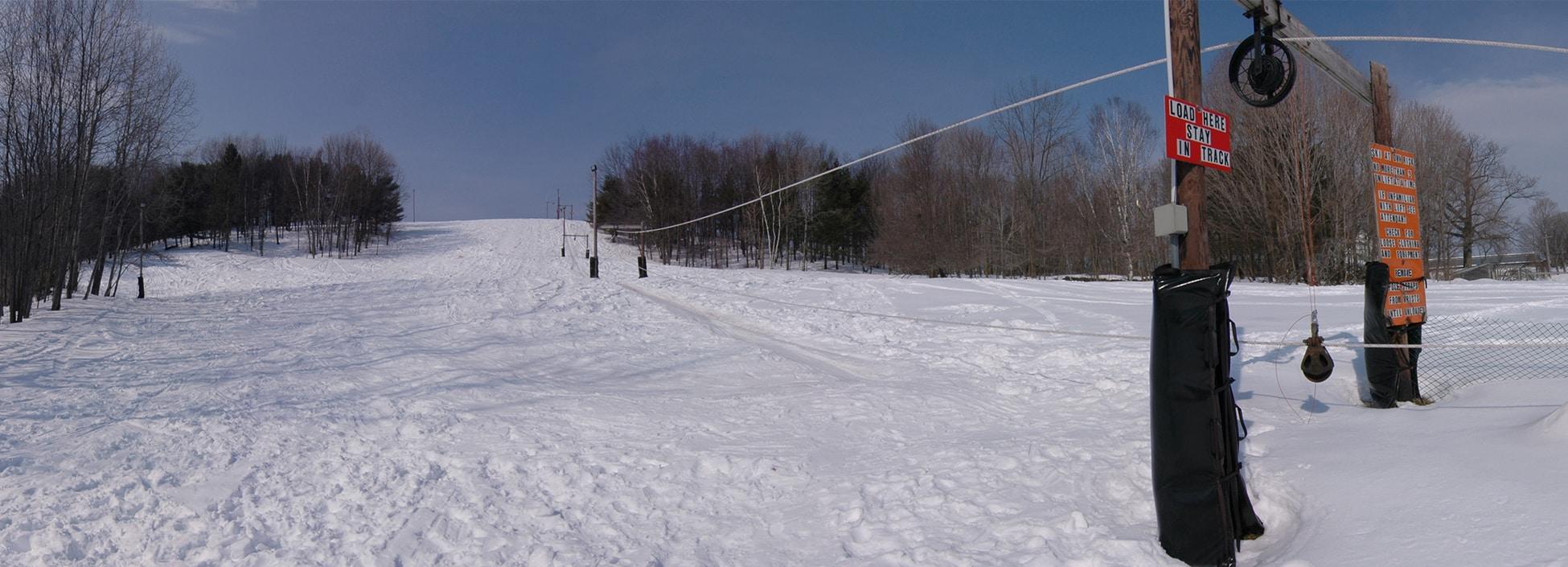 winter, ski hill, Randolph Center campus, rope tow