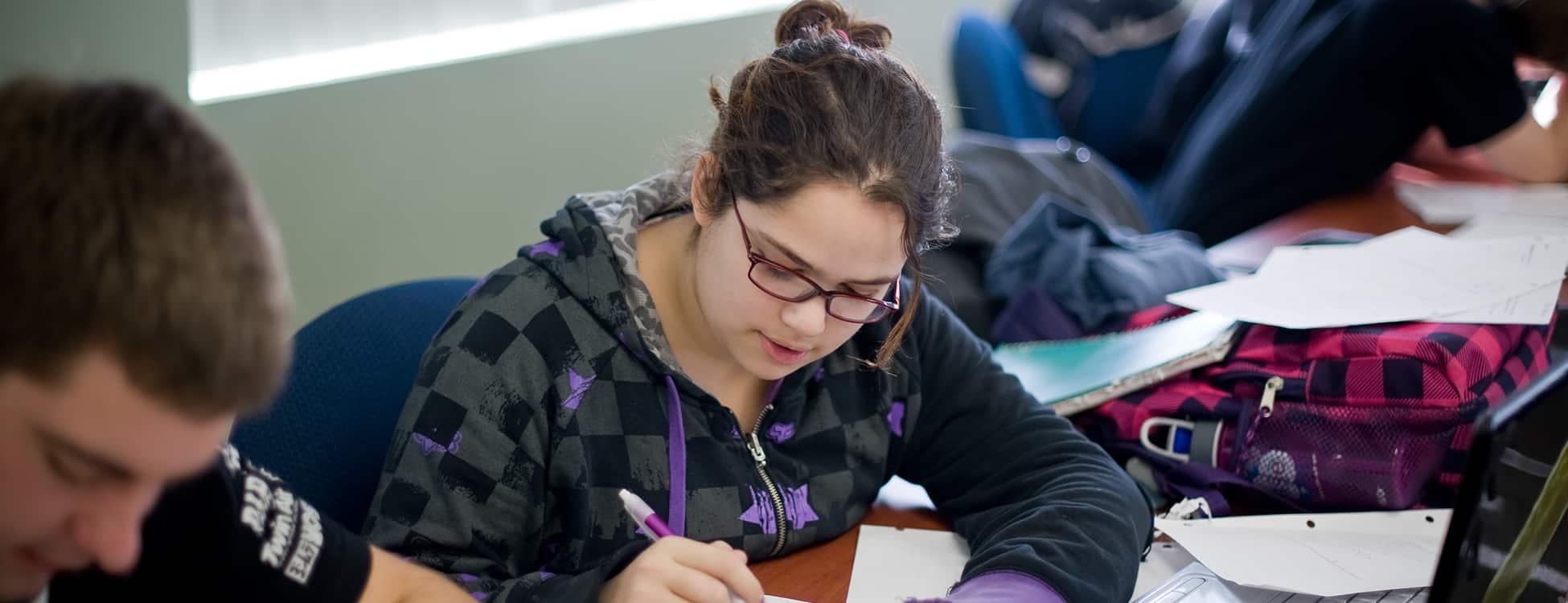 female student, studying, mathematics, classroom