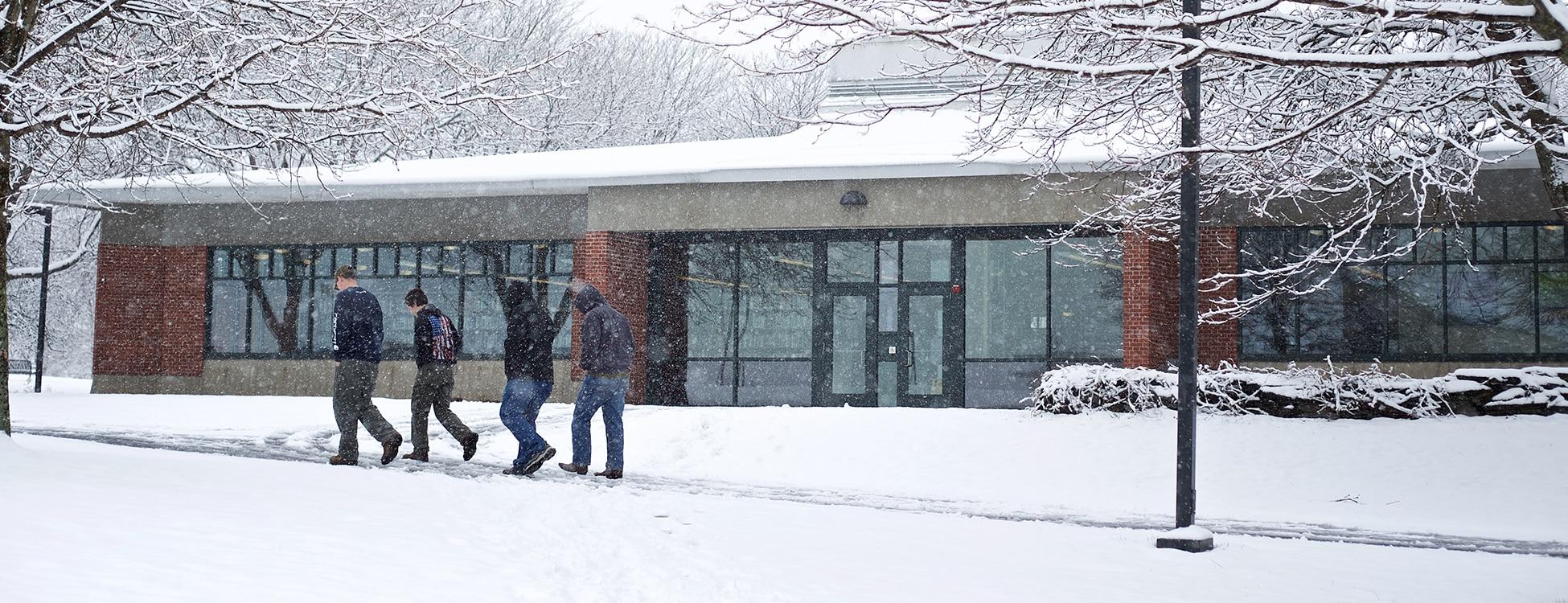 winter, snow, Hartness Library, students, walking, Randolph Center campus