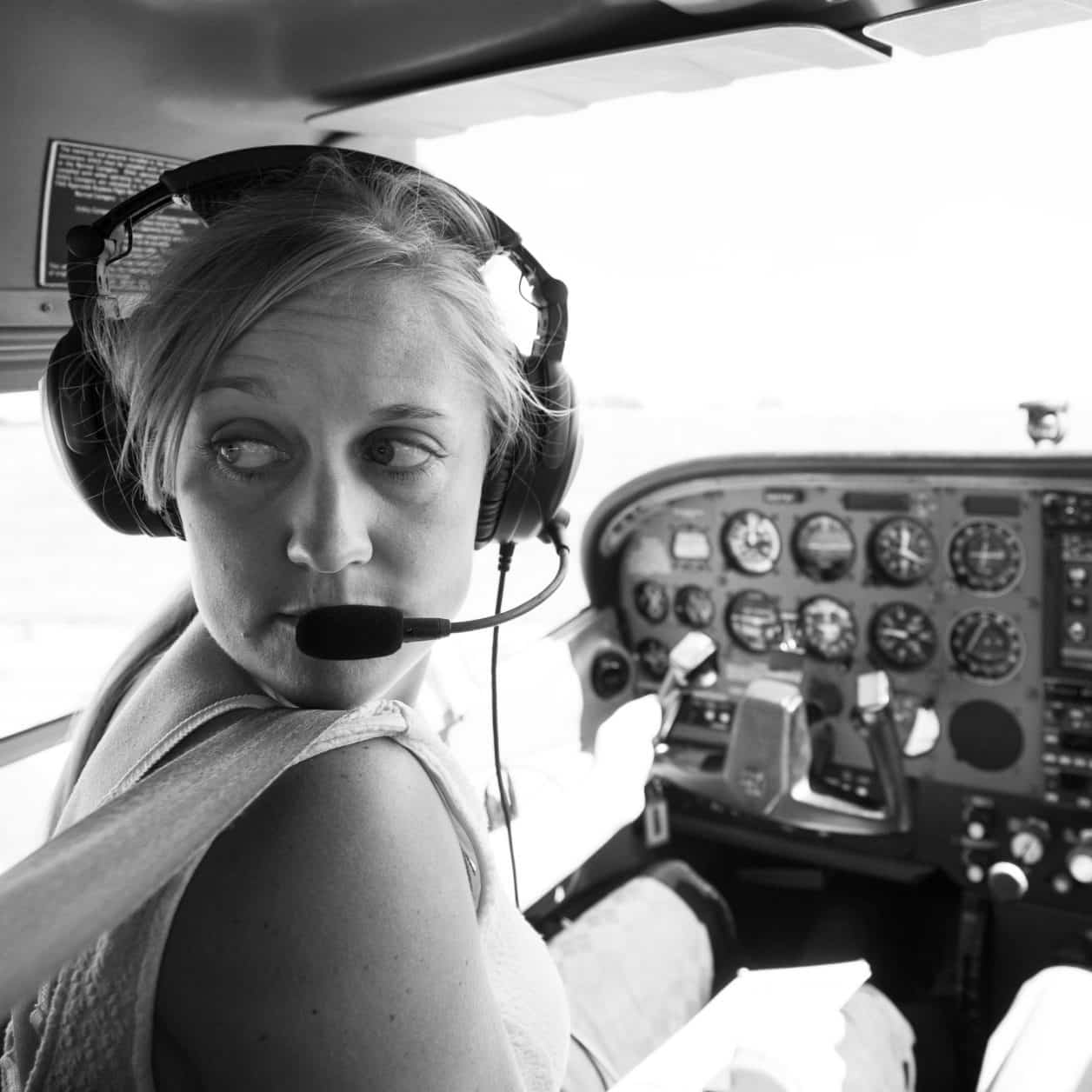 Female student, pilot, Jamie Heiam, professional pilot technology, flying