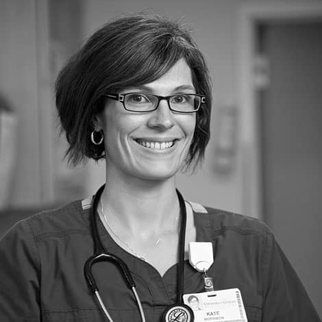 Female student, Kate Morrison, stethoscope, smiling