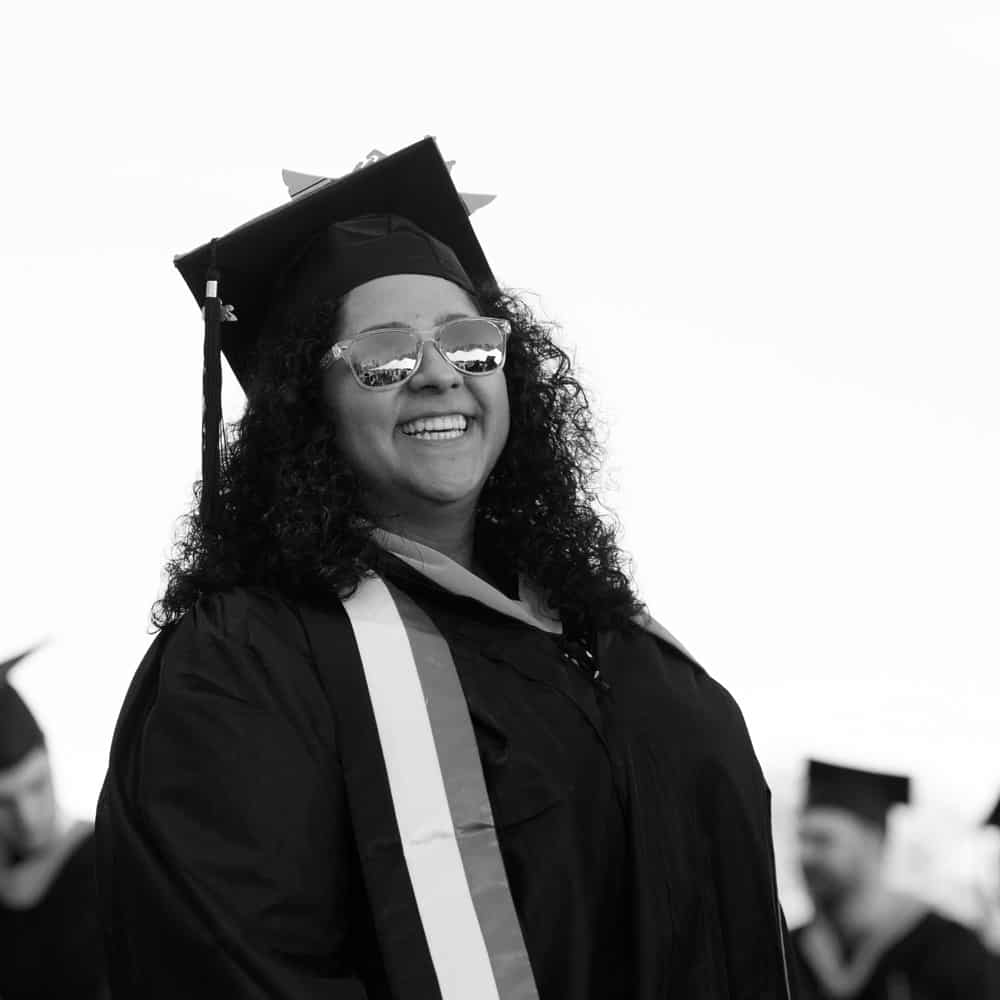 Female student, Deema, graduation, commencement, smiling