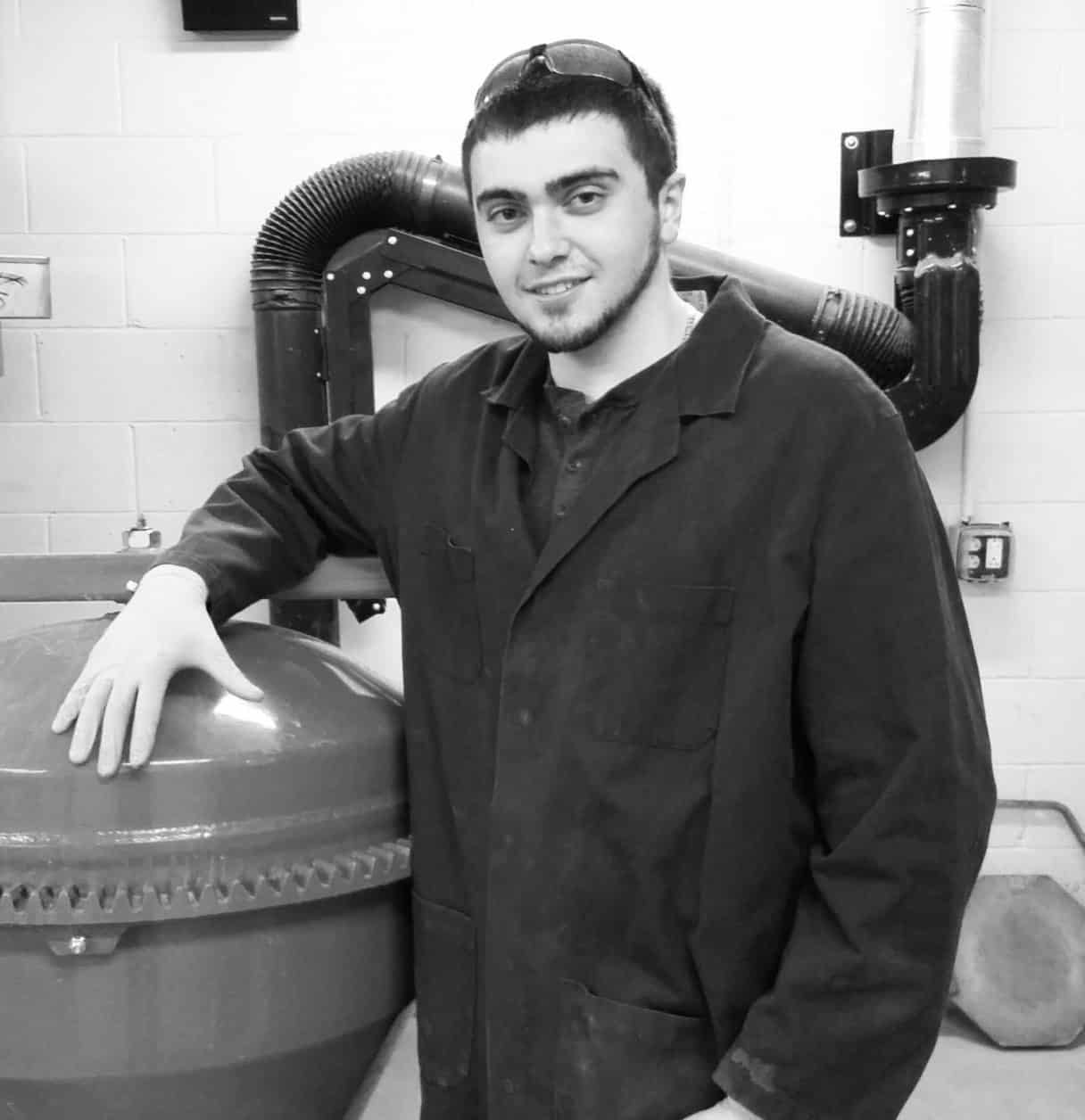 Male student, Dustin, posing, standing, smiling