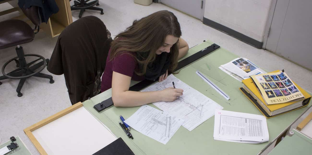 Female student, Samantha, drafting table, drawing, architectural engineering technology