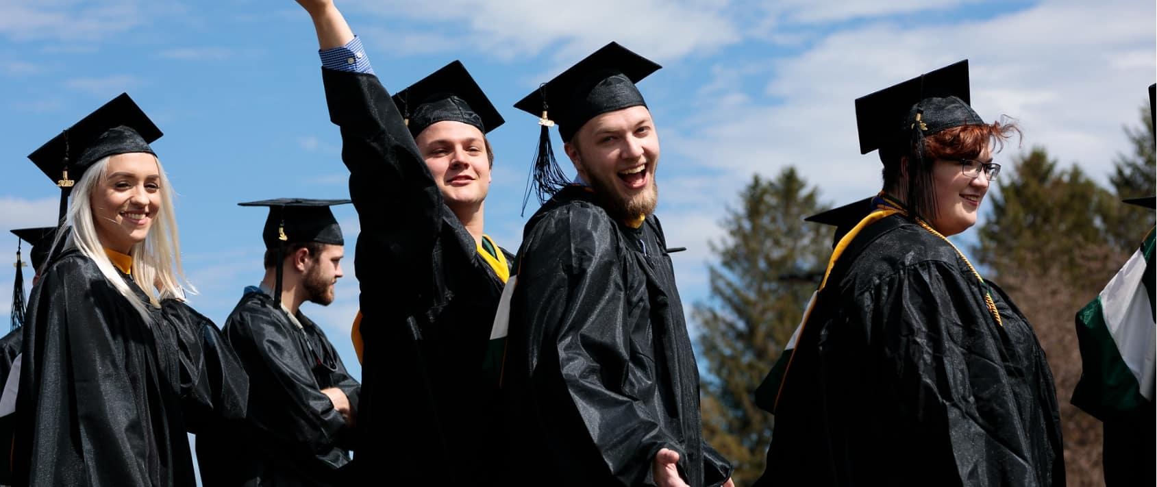 commencement, graduation, smiling, students talking