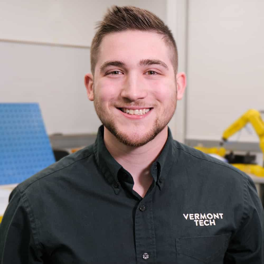 Male student, Tyler Wright, mechanical engineering technology