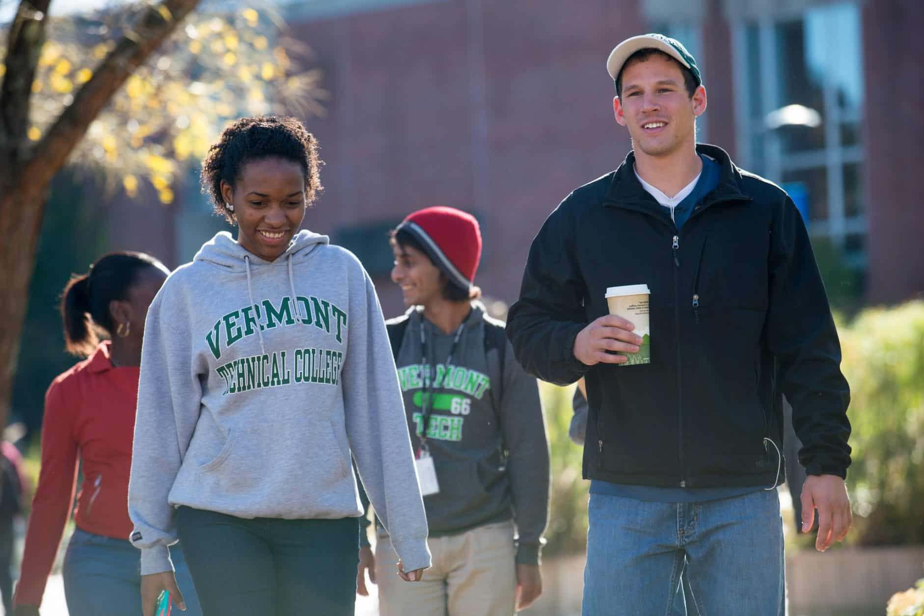Female students, male students, diversity, walking, smiling, coffee, Randolph Center campus
