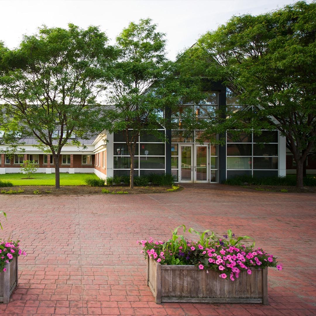 Randolph Center campus, plaza, flowers, patio