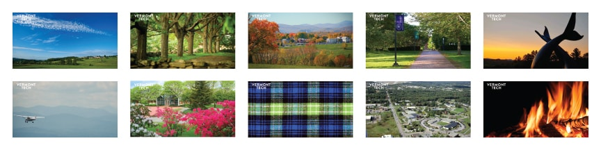 A grid of thumbnails of Zoom background available for download
