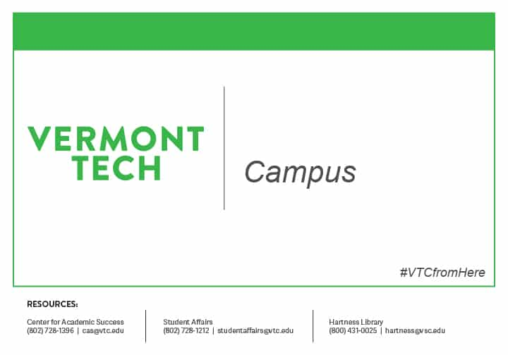 Vermont Tech campus sign for work from home