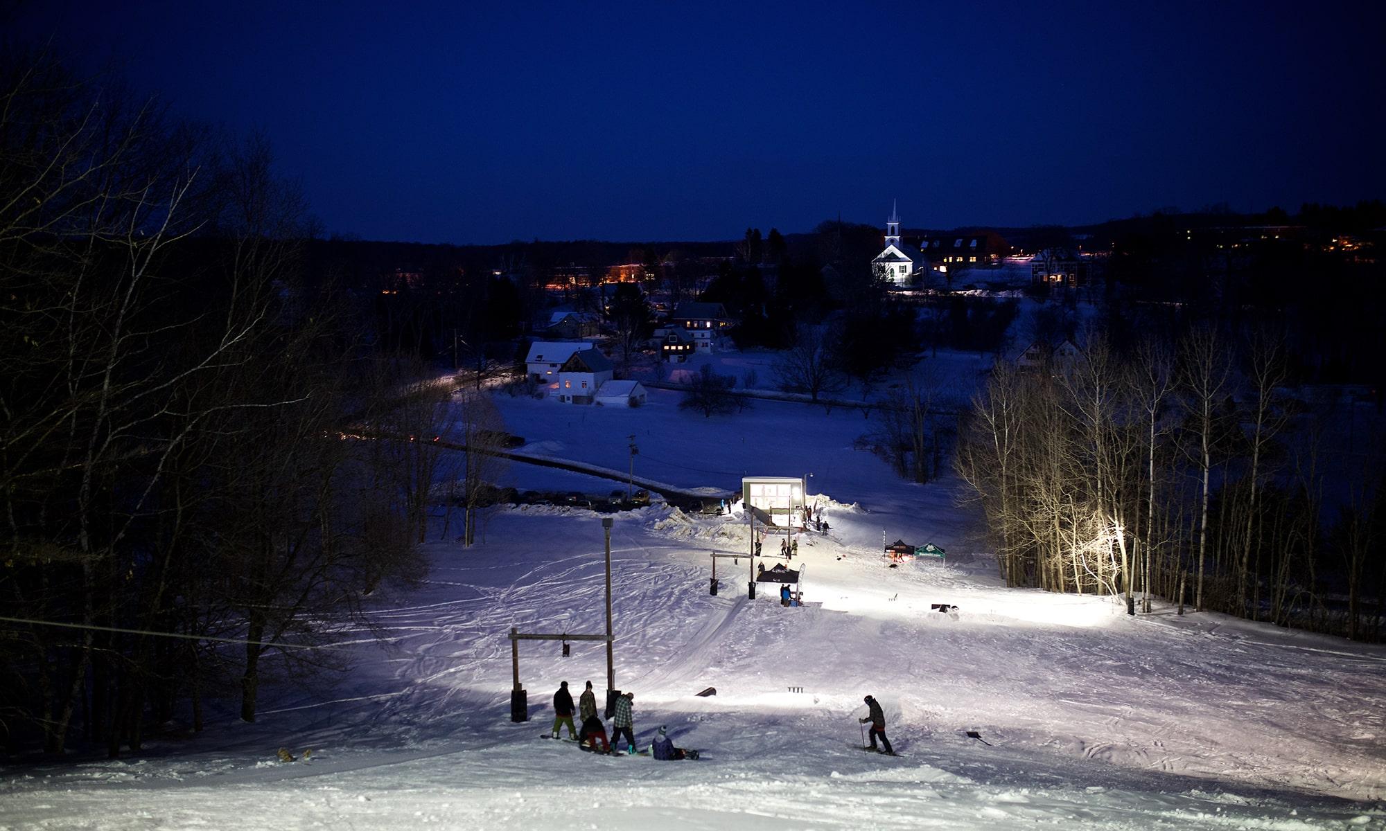 Ski Hill, Randolph Center campus, lights, skiing, boarding