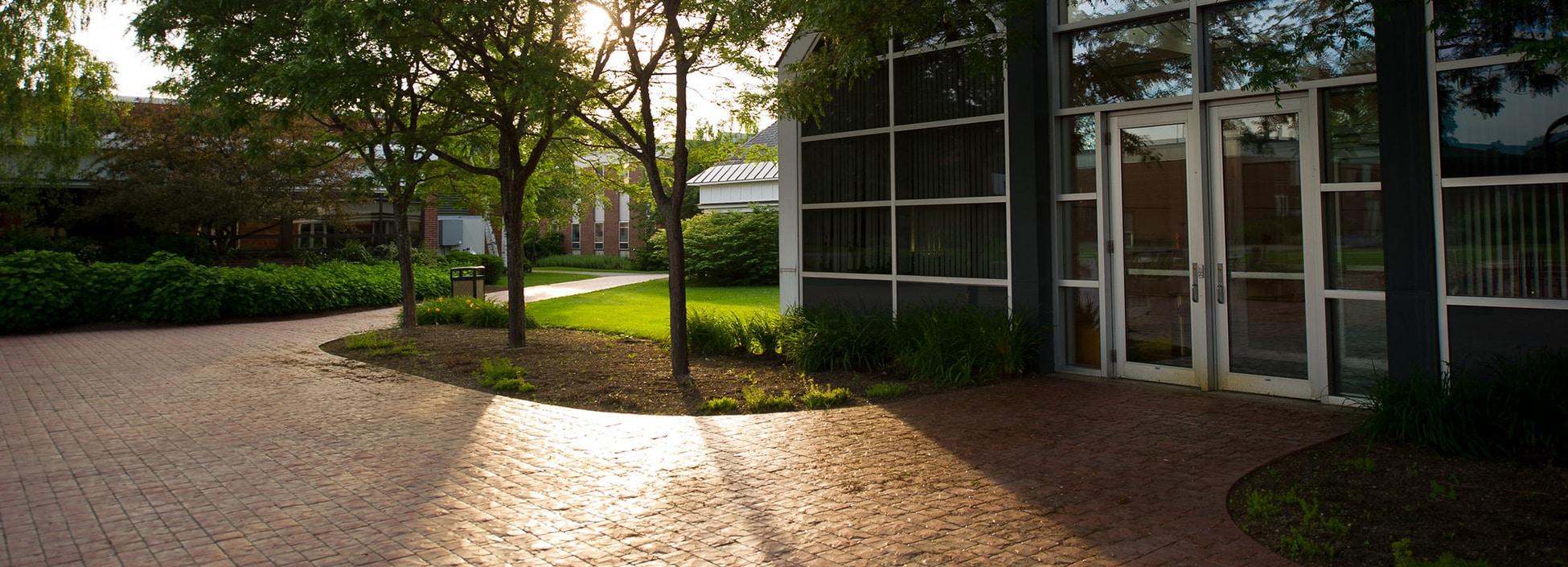 Randolph Center campus, plaza, summer, sunset