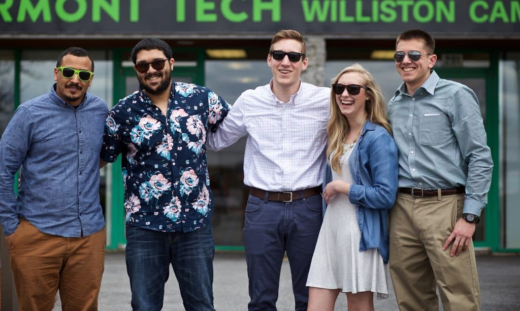 Williston campus, female student, male student, smiling, happy, sunglasses, diversity