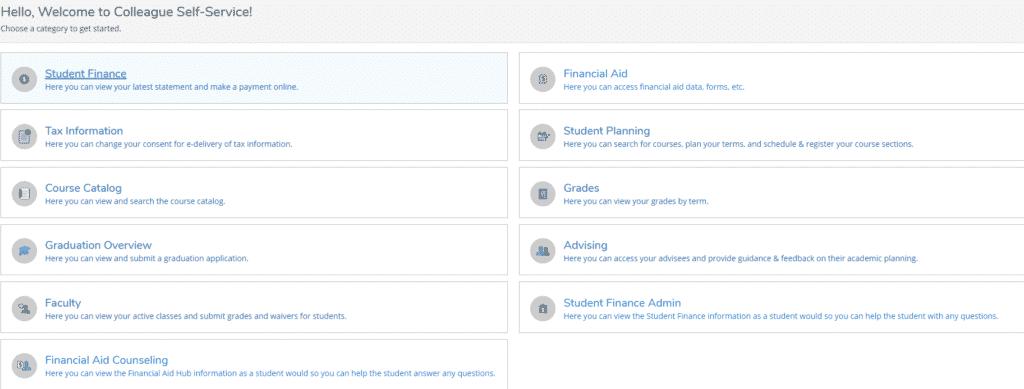 student planning tile for student self service portal