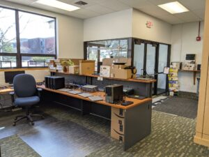 An interior view of the recently renovated IT space, formerly the bookstore location in Judd